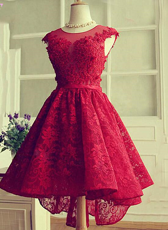 Stylish High Low Lace Round Neckline Party Dress, Wine Red Homecoming Dress