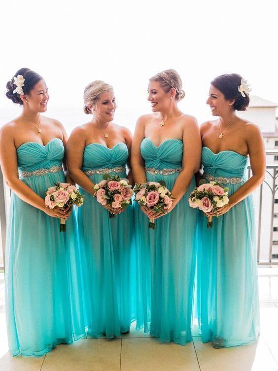 turquoise blue bridesmaid dresses long chiffon sweetheart neck romantic sexy