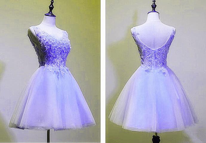 Classical Lavender Knee Length V-neckline Party Dress, Short Prom Dress