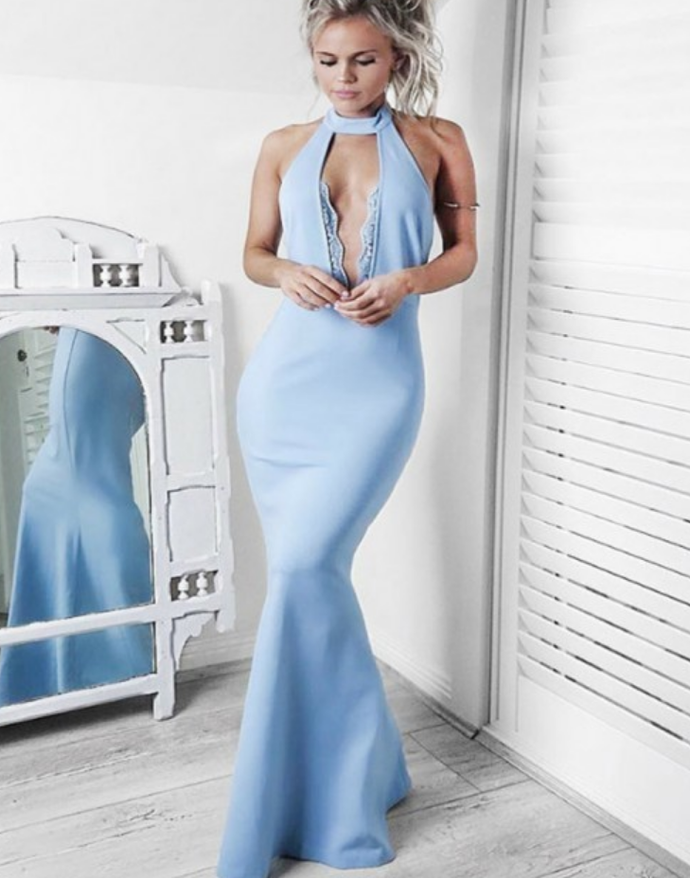 Mermaid Halter Light Blue Stretch Satin Prom Dress with Keyhole