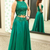 Two Piece A-Line Round Neck Green Chiffon Prom Dress with Lace Appliques