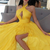 A-Line Halter Yellow Stretch Satin Prom Dress with Keyhole