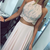 Two Piece A-Line Round Neck Pink Chiffon Prom Dress with Beading