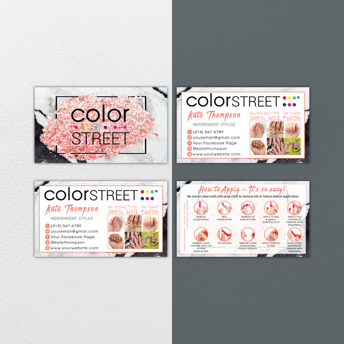 Glitter Personalized Color Street Application Cards, Color Street Business