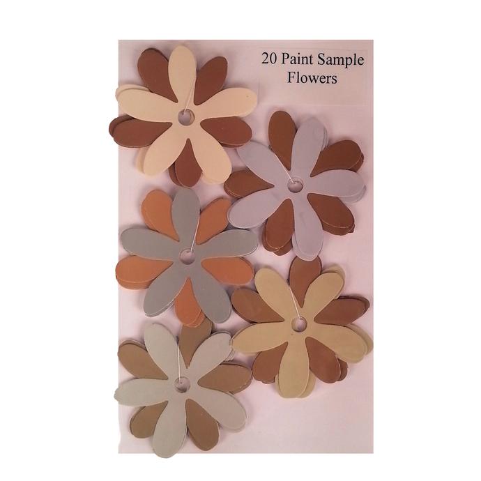 Die Cut Paint Sample Flowers Brown Gray Recycled