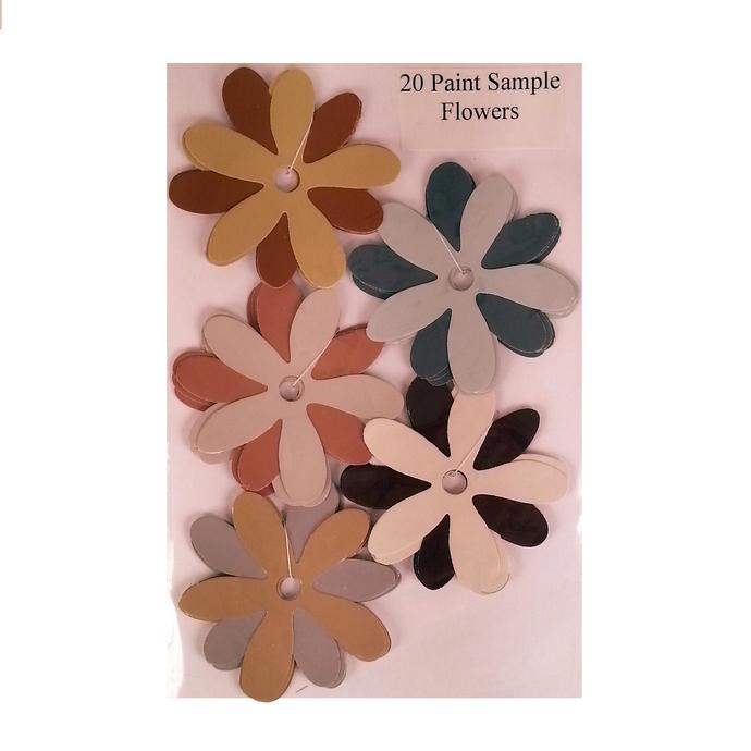 Die Cut Recycled Paint Sample Flowers Blue Pink Brown