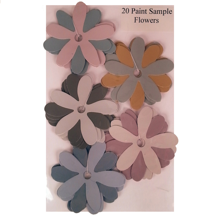 Die Cut Recycled Paint Sample Flowers Pink Gold Gray