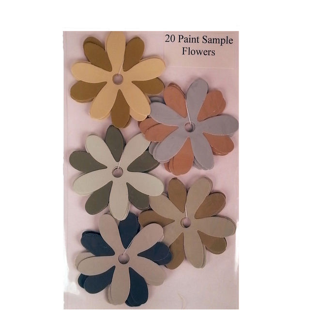 Die Cut Paint Sample Flowers Green Gold Gray Recycled