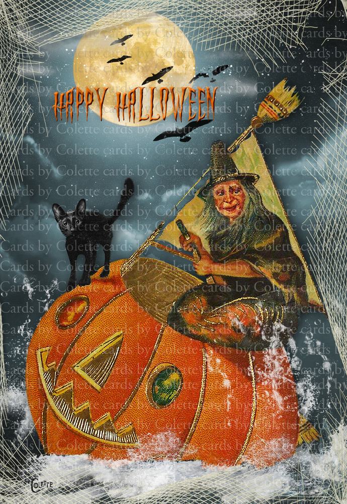 Halloween Witch Sailing Digital Collage Greeting Card3006