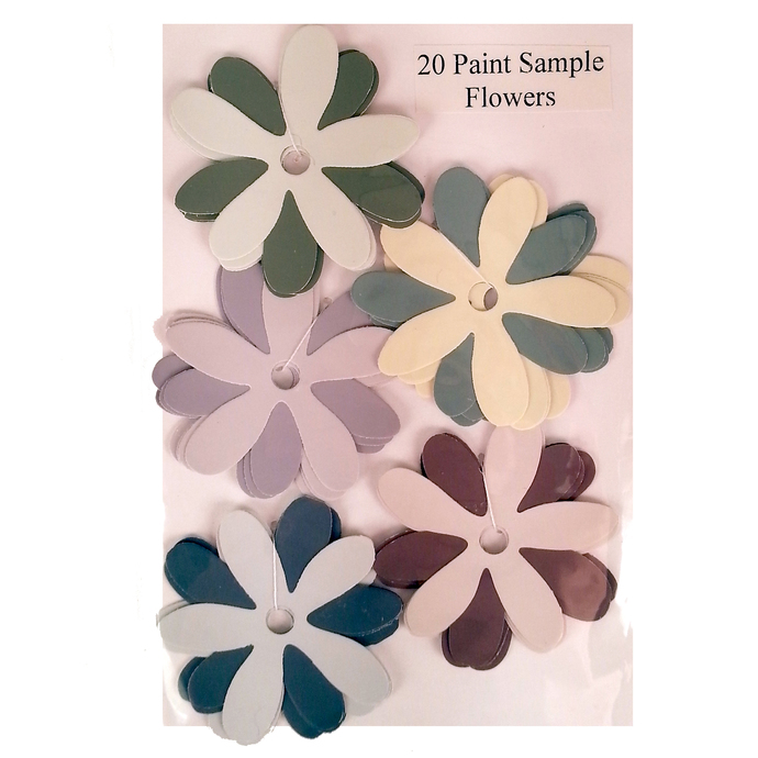 Die Cut Paint Sample Flowers Purple Green Yellow Recycled