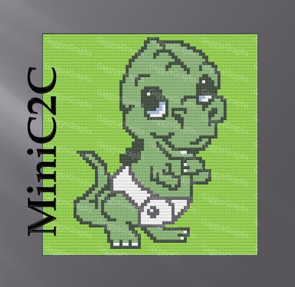 Cute Dinosaur C2C, Mini C2C, graph with, written text AND row by row color coded