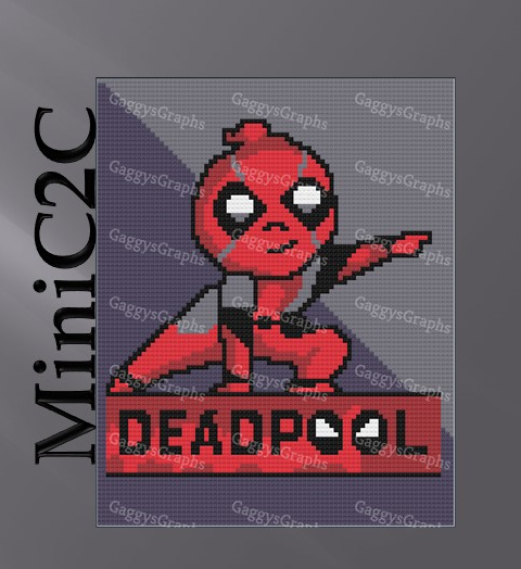 Mini Deadpool, C2C, Mini C2C Crochet Pattern Graph with Color Coded and text