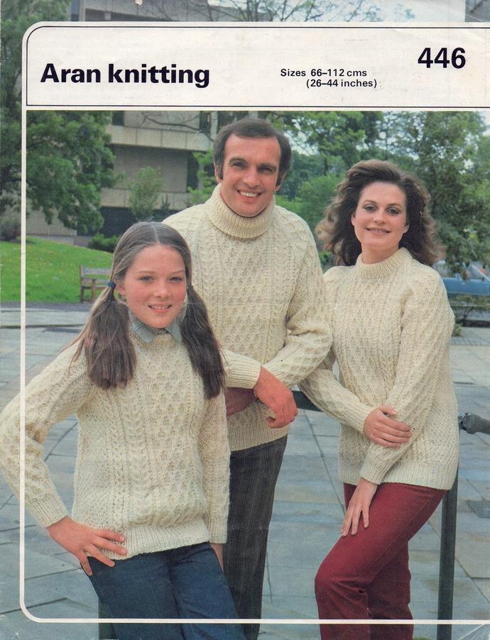 PDF Digital Download Vintage Knitting Pattern Womens Mens Childs Cable Aran