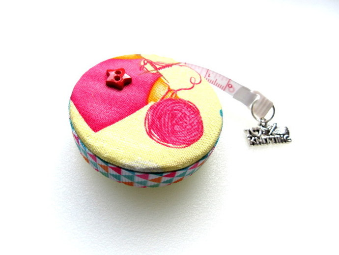 Tape Measure Work In Progress Yellow Knitting Retractable Small Measuring Tape