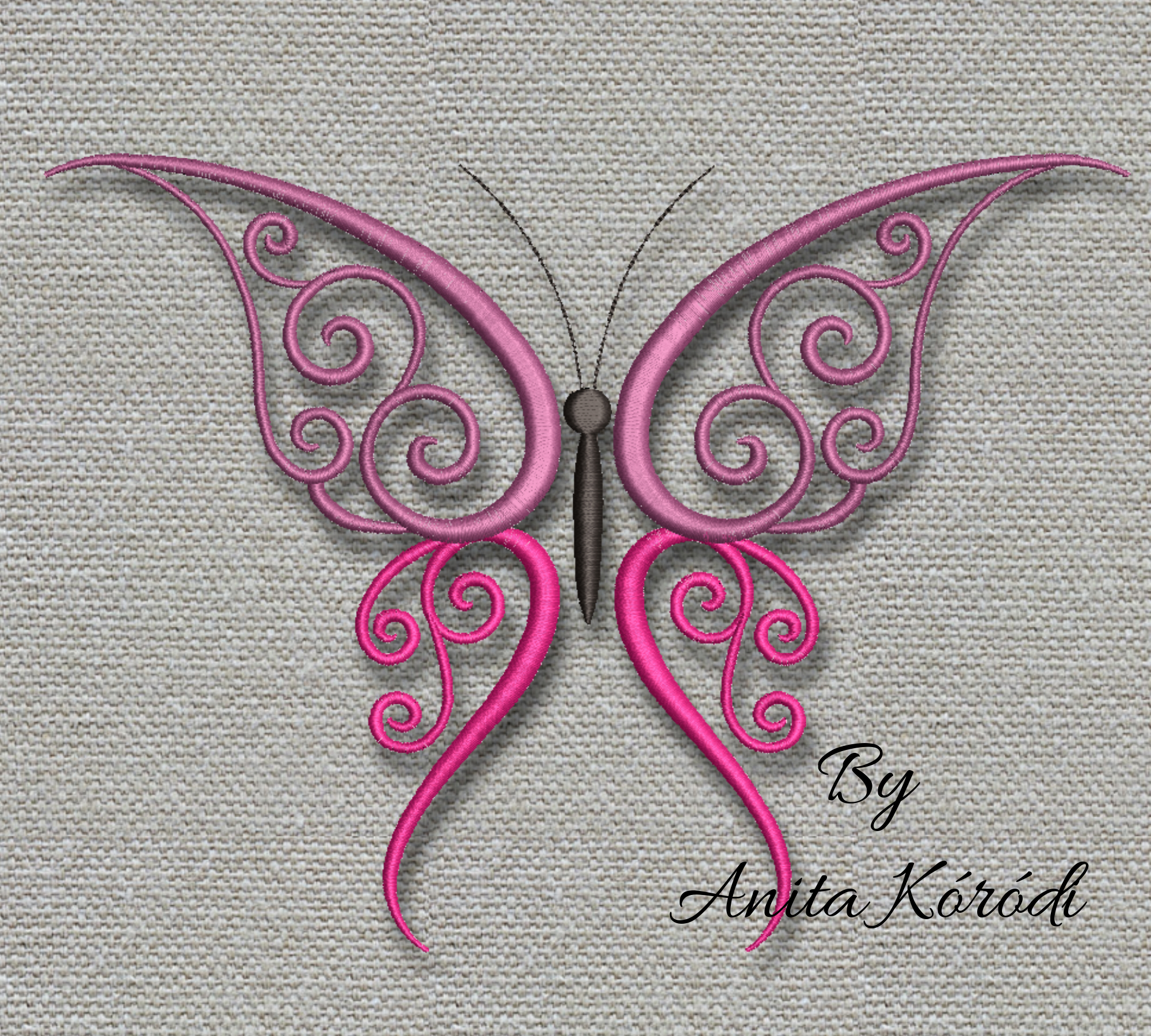 Butterfly embroidery machine design Pe pes file digital instant download pattern