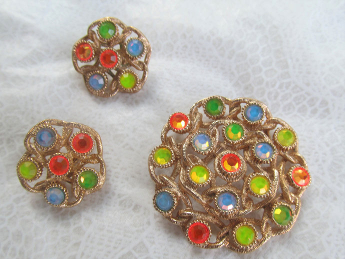 """SARAHCOV signed vintage rhinestone matching set """"Moon-Lites"""" from the 70's"""