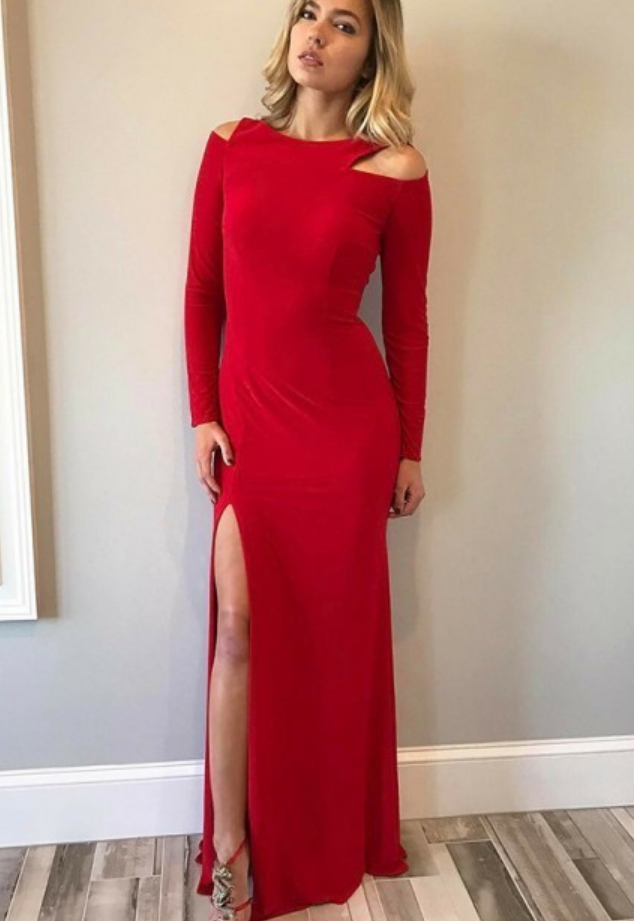 Classical Scoop Long Sleeves Cut Out Split Red Prom Dress