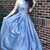 Exquisite Halter Sleeveless Blue Sweep Train Prom Dress with Pockets