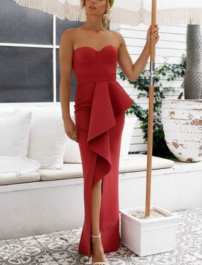 Decent Strapless Asymmetry Red Prom Party Dress