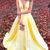 Elegant V-neck Sleeveless Yellow Sweep Train Prom Dress