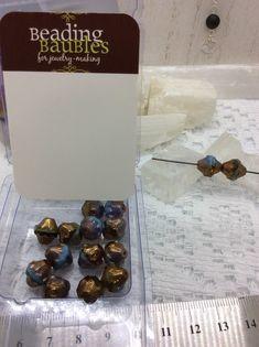 11x10 mm fire polished Czech glass TURBINE beads in Turquoise/Topaz Bronze
