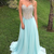 Delicate Sweetheart Light Sky Blue Sweep Train Prom Dress with Beading