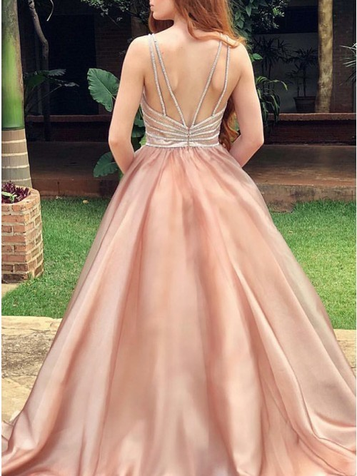 Generous Champagne Spaghetti Straps Ball Gown Sweep Train Prom Dress with