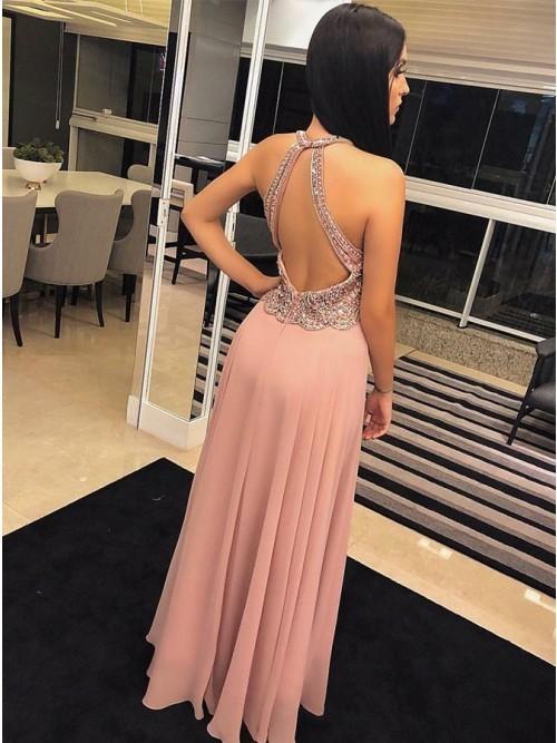 Fancy Round Neck Sleeveless Blush Prom Dress with Beading