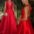 Modest V-neck Red Sleeveless Formal Prom Evening Dress with Bowknot