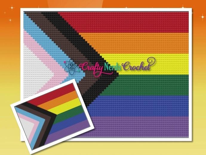 LGBTQIA Progress Flag Pattern Graph With C2C Crochet Written