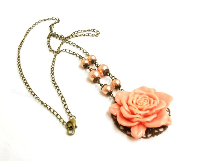 Vintage style jewelry, large peach rose with faux pearls and antiqued bronze