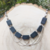 Handmade Gray Stone and Chain Criss-Cross Statement Necklace