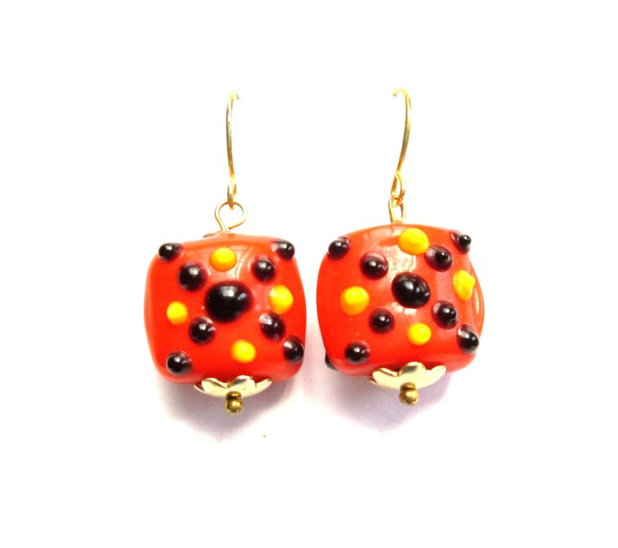 Cheerful orange, black and yellow halloween earrings, lampwork beads, lamp work