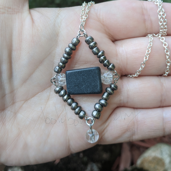 Gray Diamond Shaped Pendant Necklace