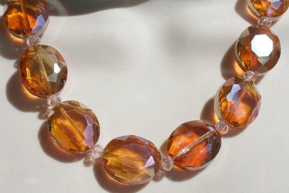 Chunky Bold Crystal Statement Necklace, Large Oval Bead Bib Necklace
