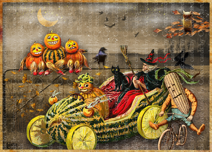 Halloween Witch Evening Out Digital Collage Greeting Card3007