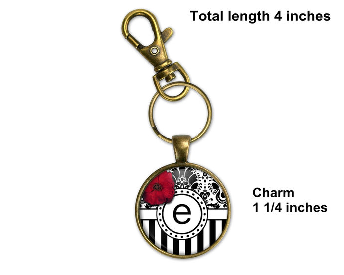Personalized gift, personalized purse charm, initial key ring, key fob, monogram