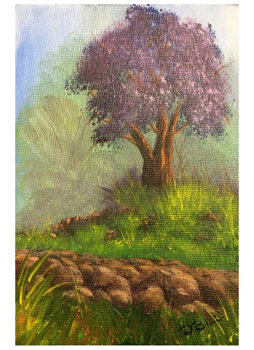 Purple tree original acrylic landscape painting