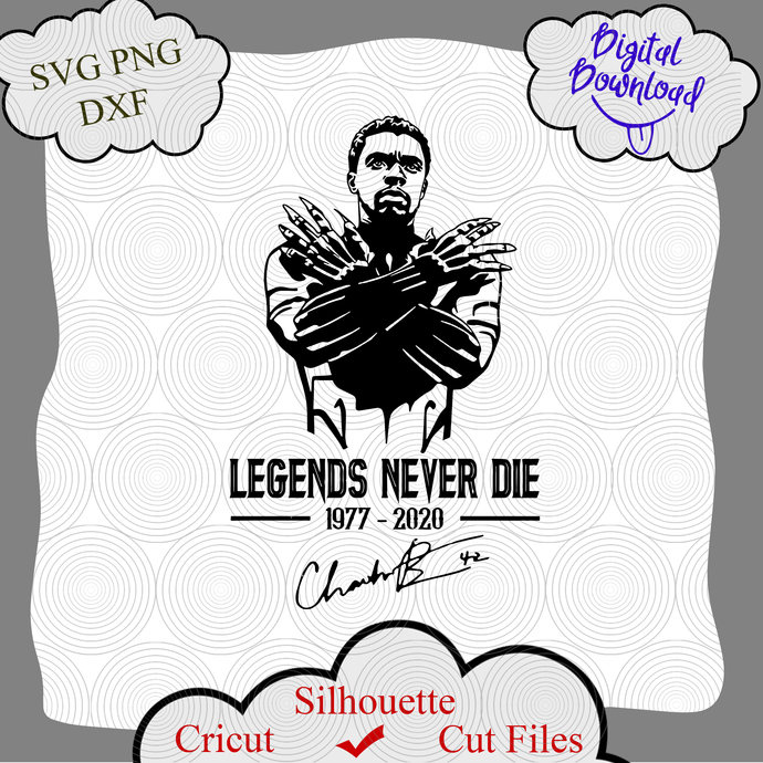 Legends Never Die SVG, RIP Chadwick Boseman SVG, Black Panther SVG, marvel Black