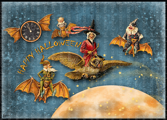 Halloween Midnight Riders Digital Collage Greeting Card3008
