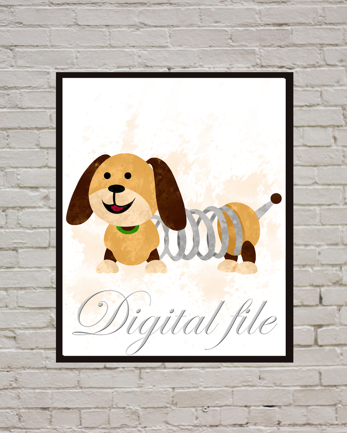 Toy Story  baby Disney, Slinky Dog print, poster, home decor, nursery room, wall
