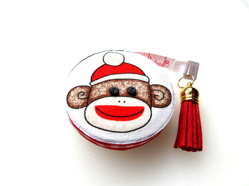 Measuring Tape with Sock Monkey Small Retractable Tape Measure