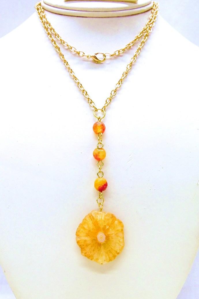 Bright Fall solar quartz necklace with agate semiprecious gemstones, orange and