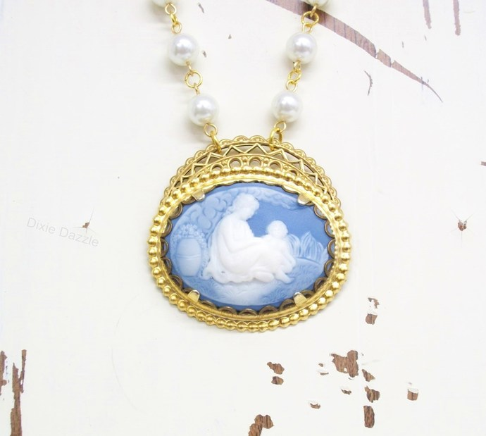 Blue mother and child cameo and pearl assemblage necklace with gold tone