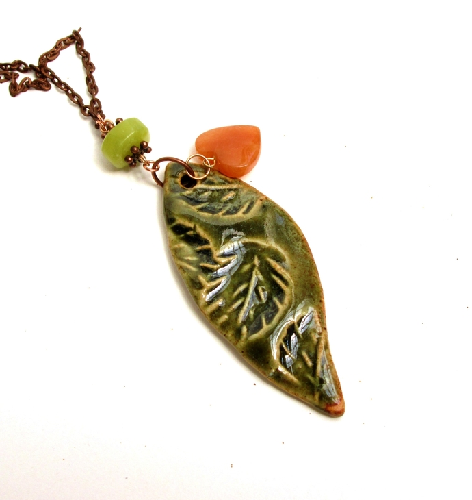 Textured leaf pendant with carnelian and lemon jade charms, fall necklace,