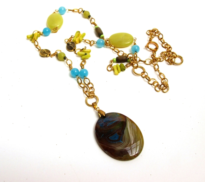Long Fall boho necklace with chartreuse and blue stone beads and gorgeous agate
