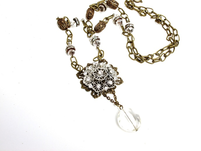 Vintage style filigree and rhinestone boho necklace, bohemian jewelry,