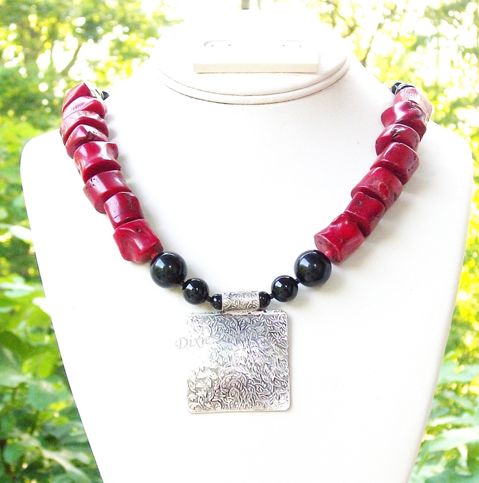 Statement coral and black onyx chunky necklace, red and black necklace, special