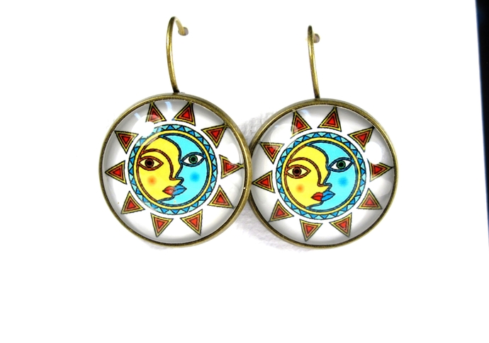 Sun and moon art earrings, leverback earrings with solar theme, turquoise color