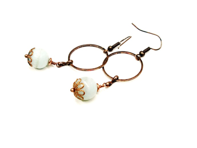 Copper earrings with blue amazonite stone beads, blue earrings, dangle earrings,